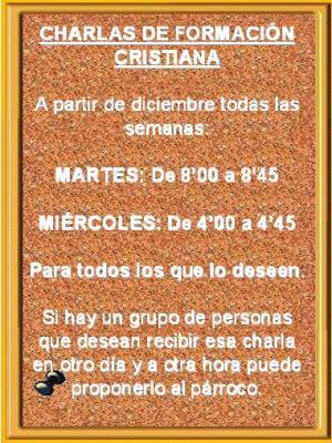 CHARLAS DE FORMACIÓN EN LA PARROQUIA